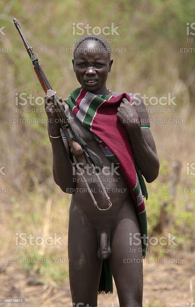 Nude african tribal man