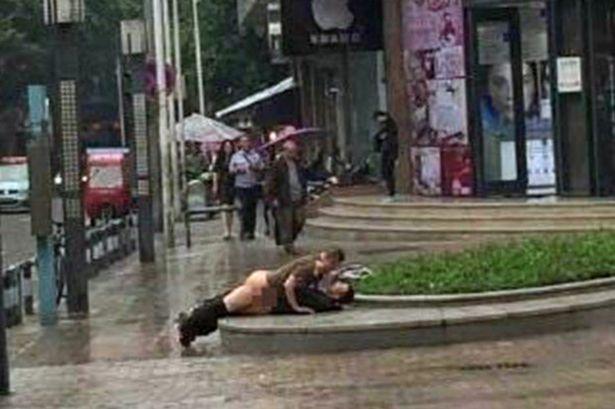 Having sex in public street