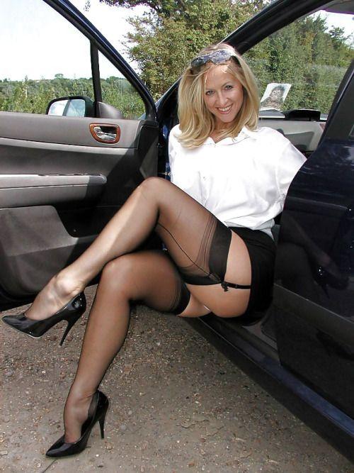 Open legs black stockings