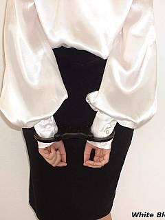 Bound and gagged satin blouse secretary
