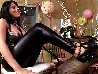 Woman leather pants femdom sex