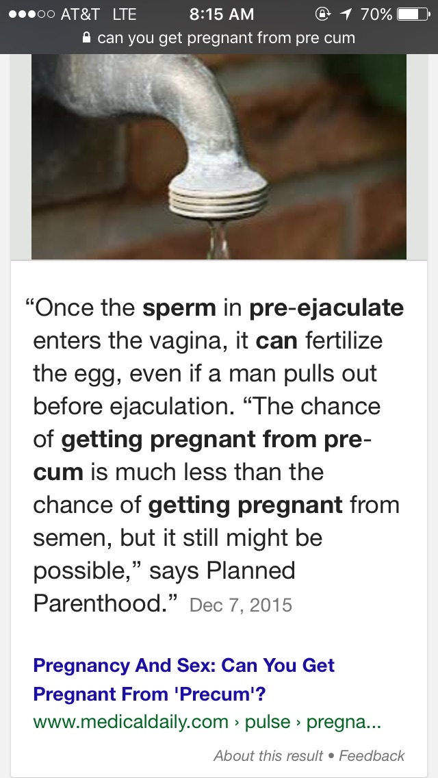 Precum in of chance sperm