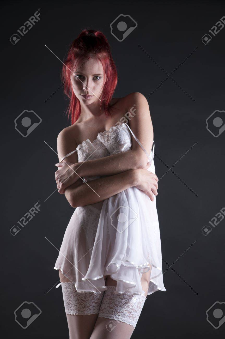Red heads wearing white stockings