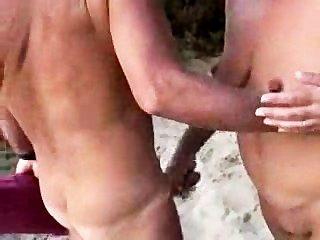 Nude couples beach handjob