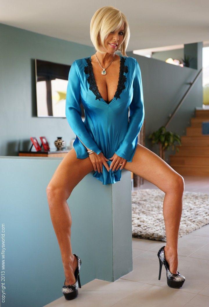 Busty blonde milf high heels