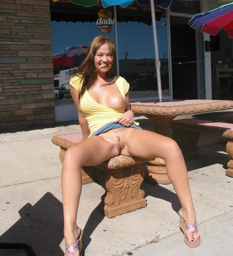 Wives flashing pussy in public