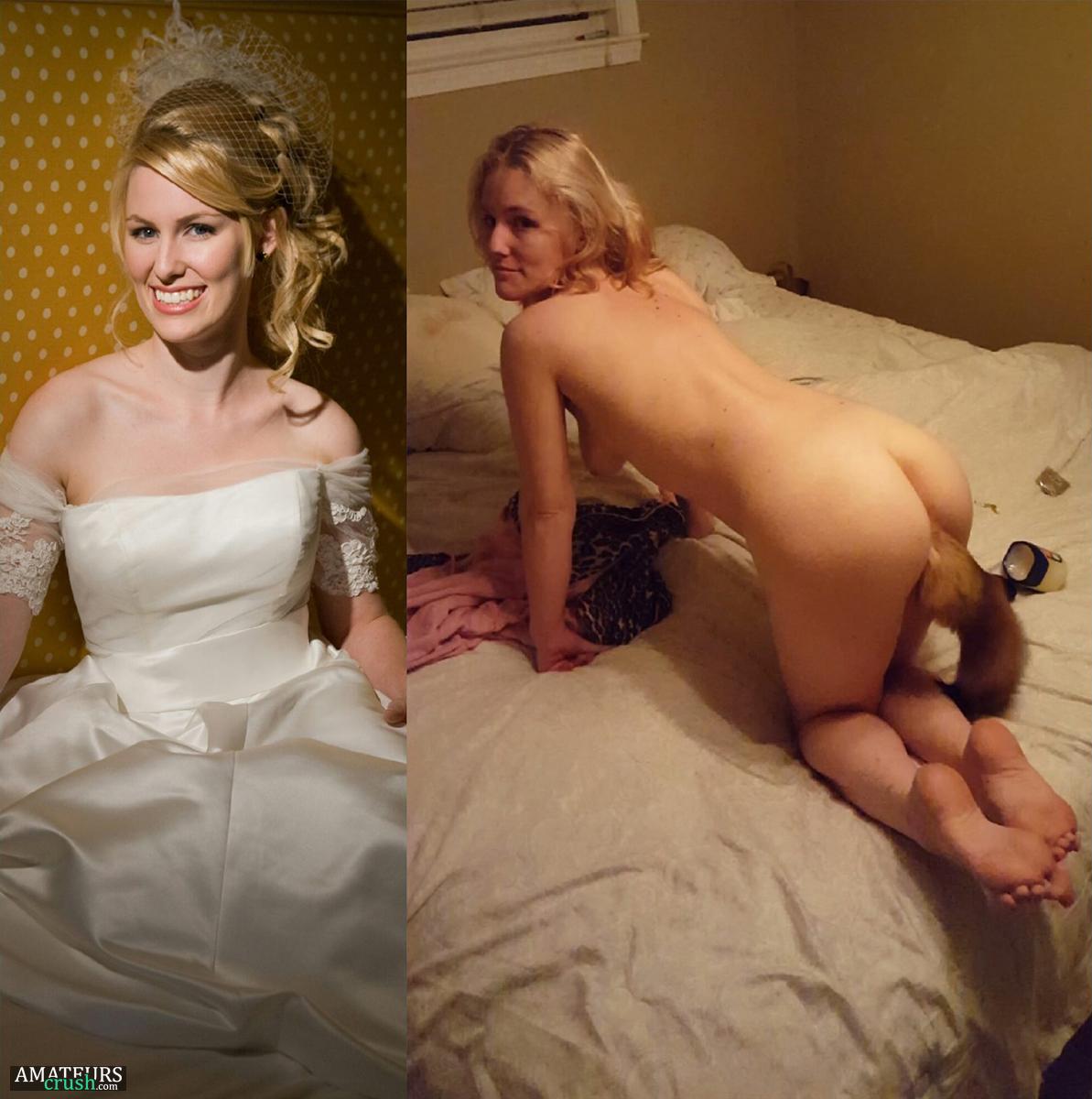 Bride getting undressed
