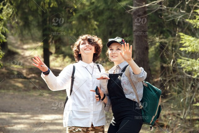 The jogging teen girls in wood adventure