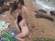 Amateur aussie mff threesome on public beach