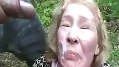 Jerk off on grannys face