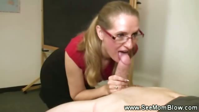 Horny teacher sucking student cock
