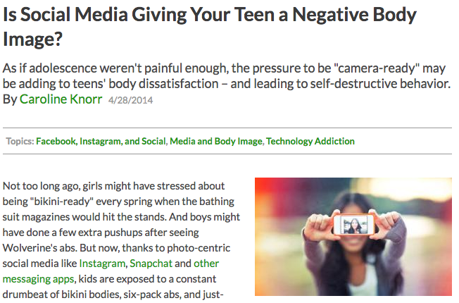 Media effects on teen body image