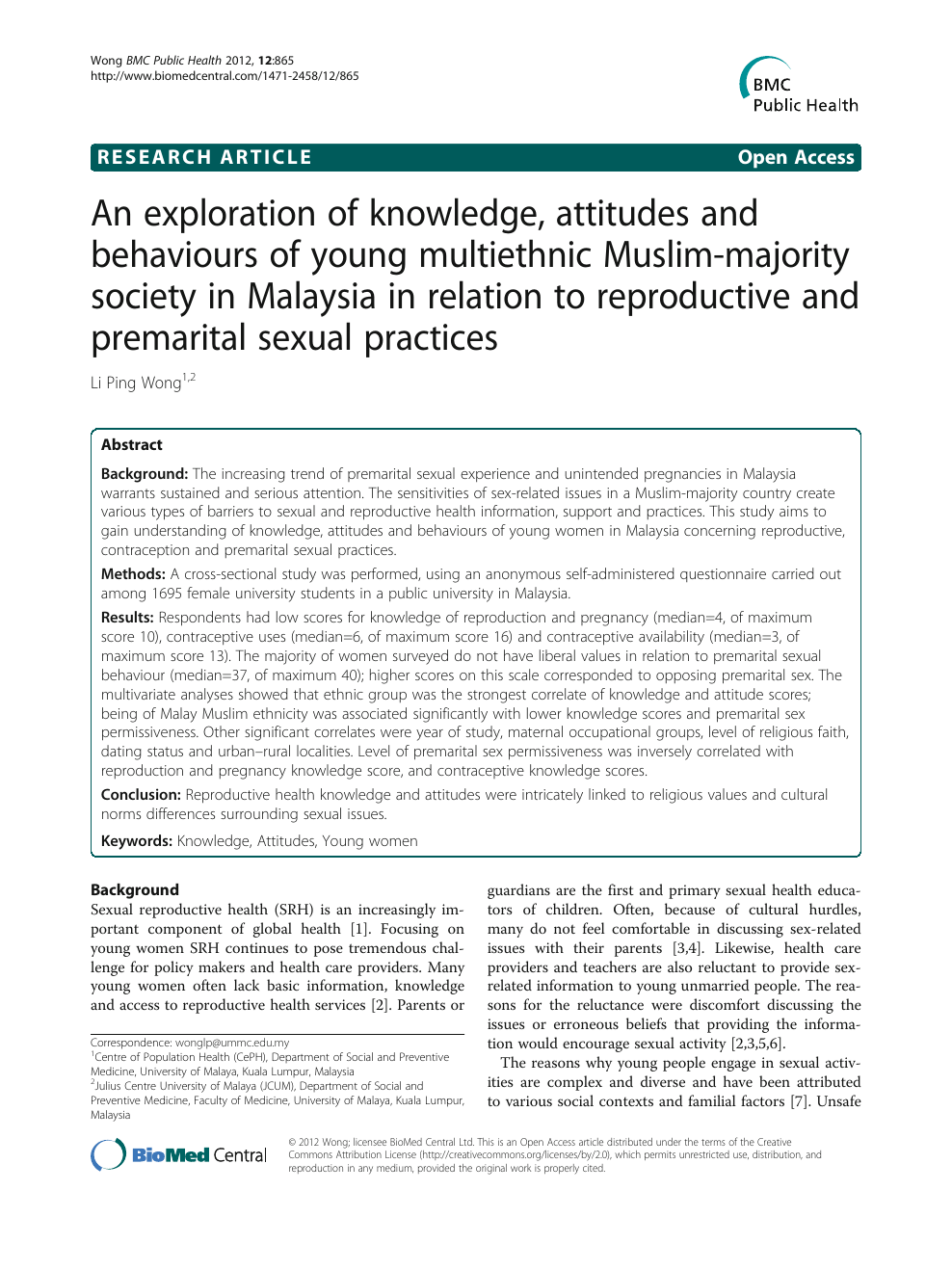 Premarital sexual attitudes and behaviour