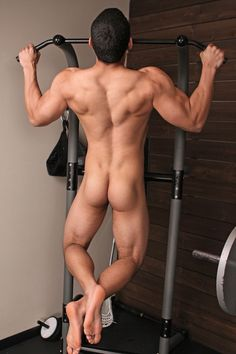 Hot men work out naked
