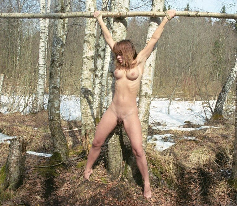Nude girls outdoor bondage