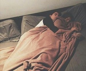 Young teen couple bed