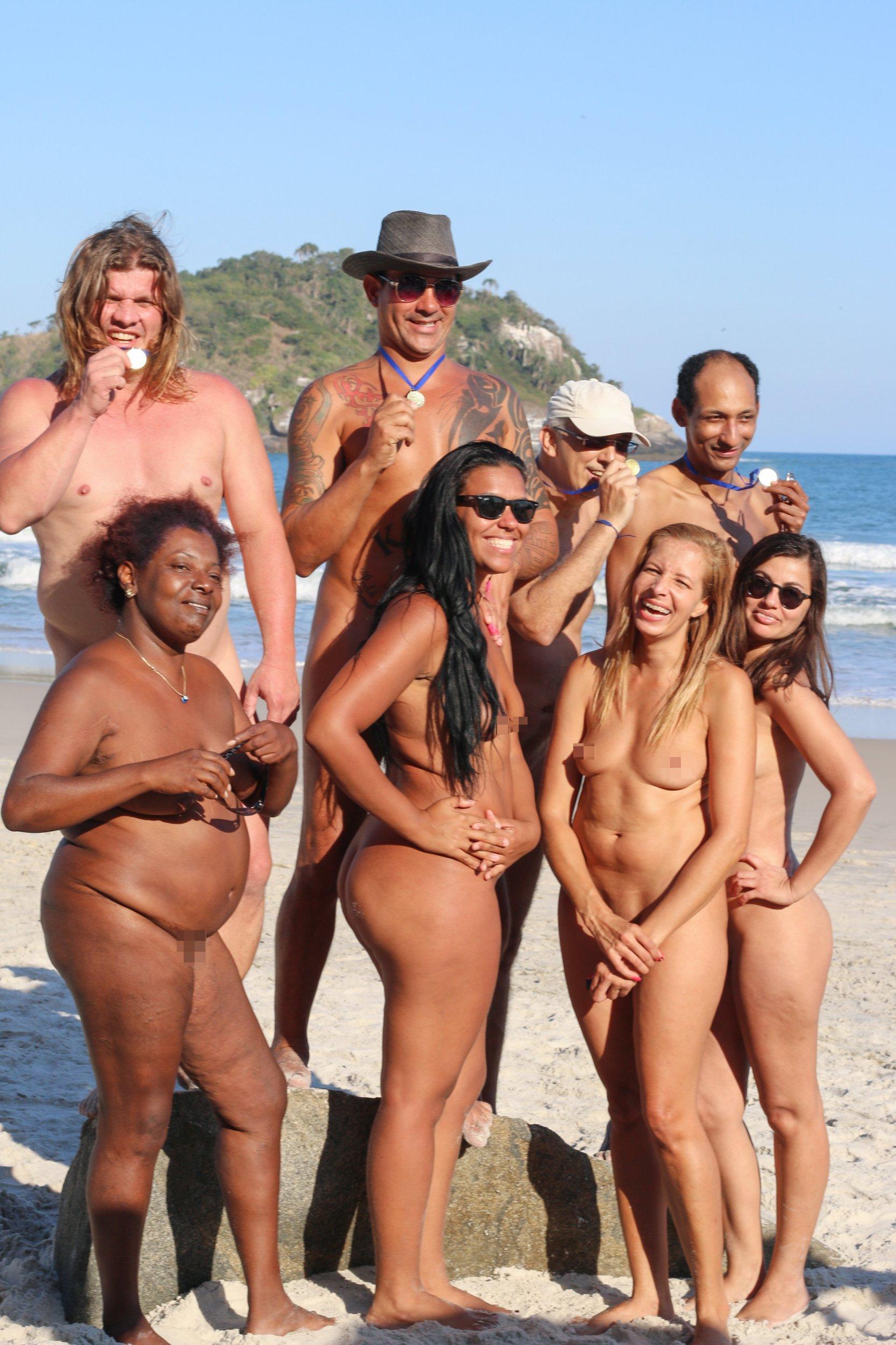 Naked group beach girls