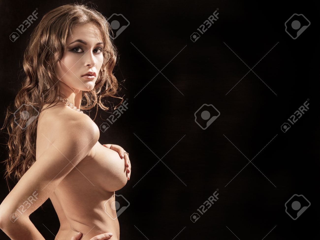 Naked black woman with big breasts