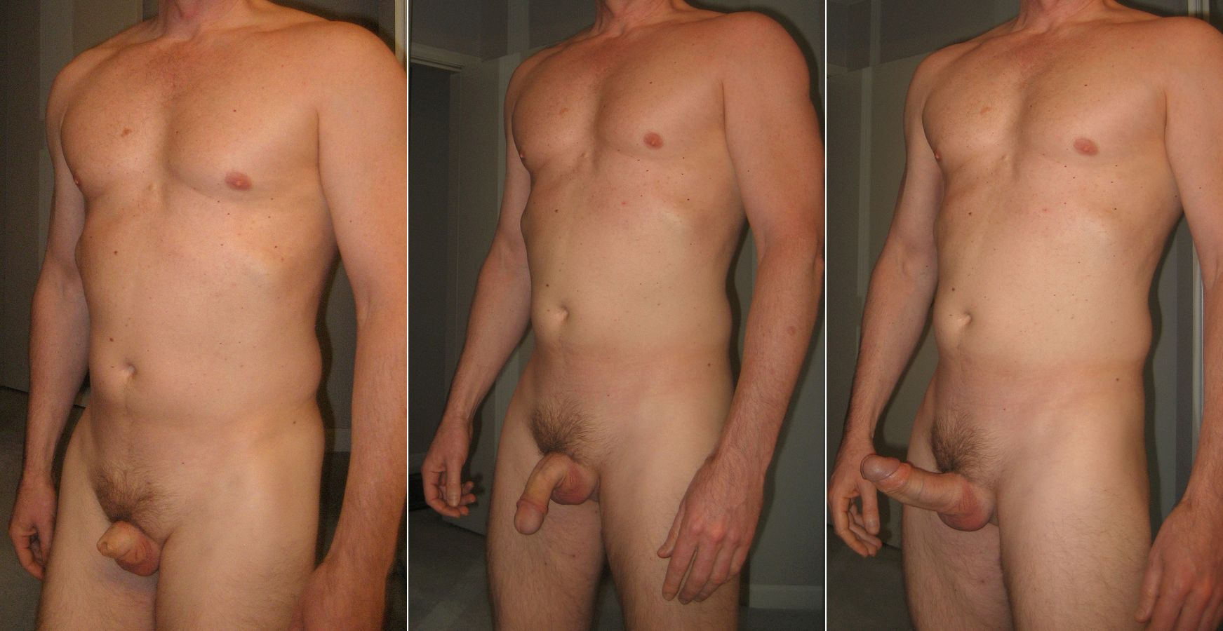 Naked women and men with the erect penis