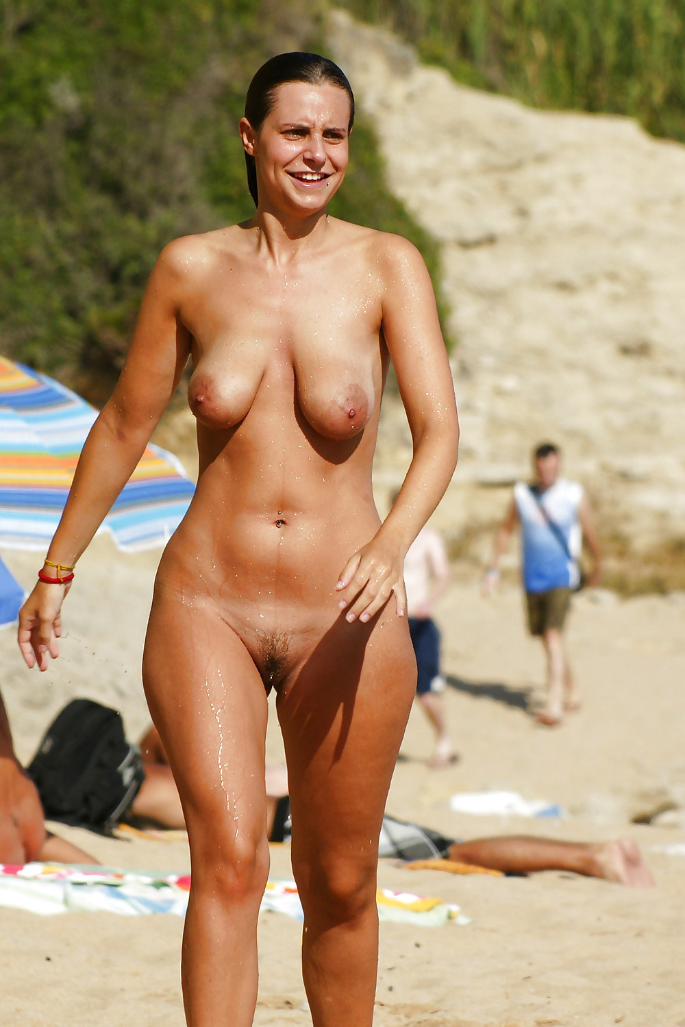 Mature saggy tits at beach