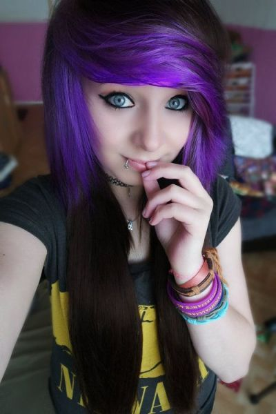 Emo girls with black hair and purple