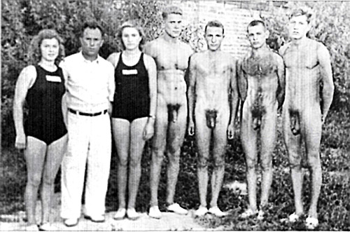 Nude swimming boys photo
