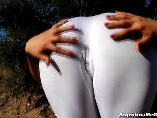 Tight white panties ass