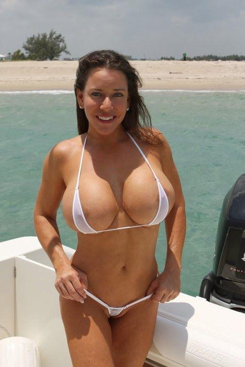 Topless sling bikini big tits