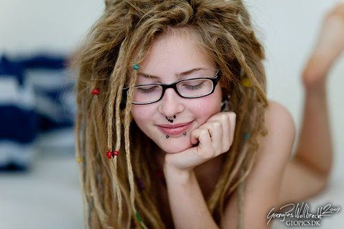 Nude white girl with dreadlocks