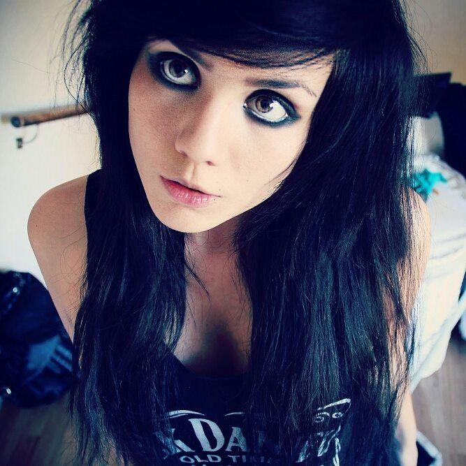 Girls with eyes hair blue emo black