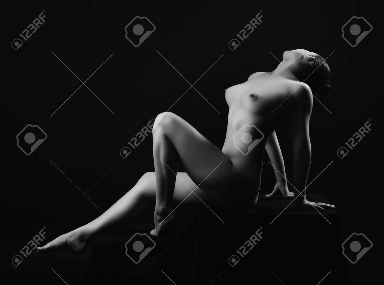 Nude black and white with color