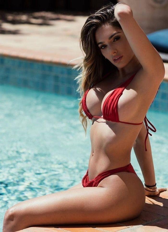 Busty bikini pool girls