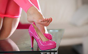 Ebony black girl pussy heels
