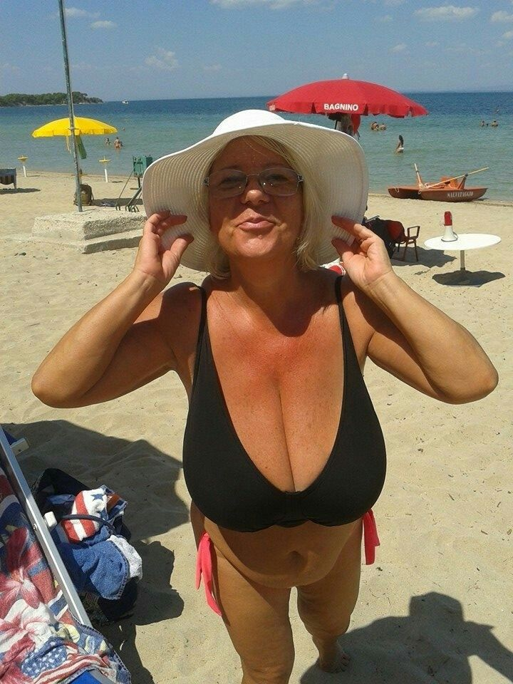 Mature mom on the beach