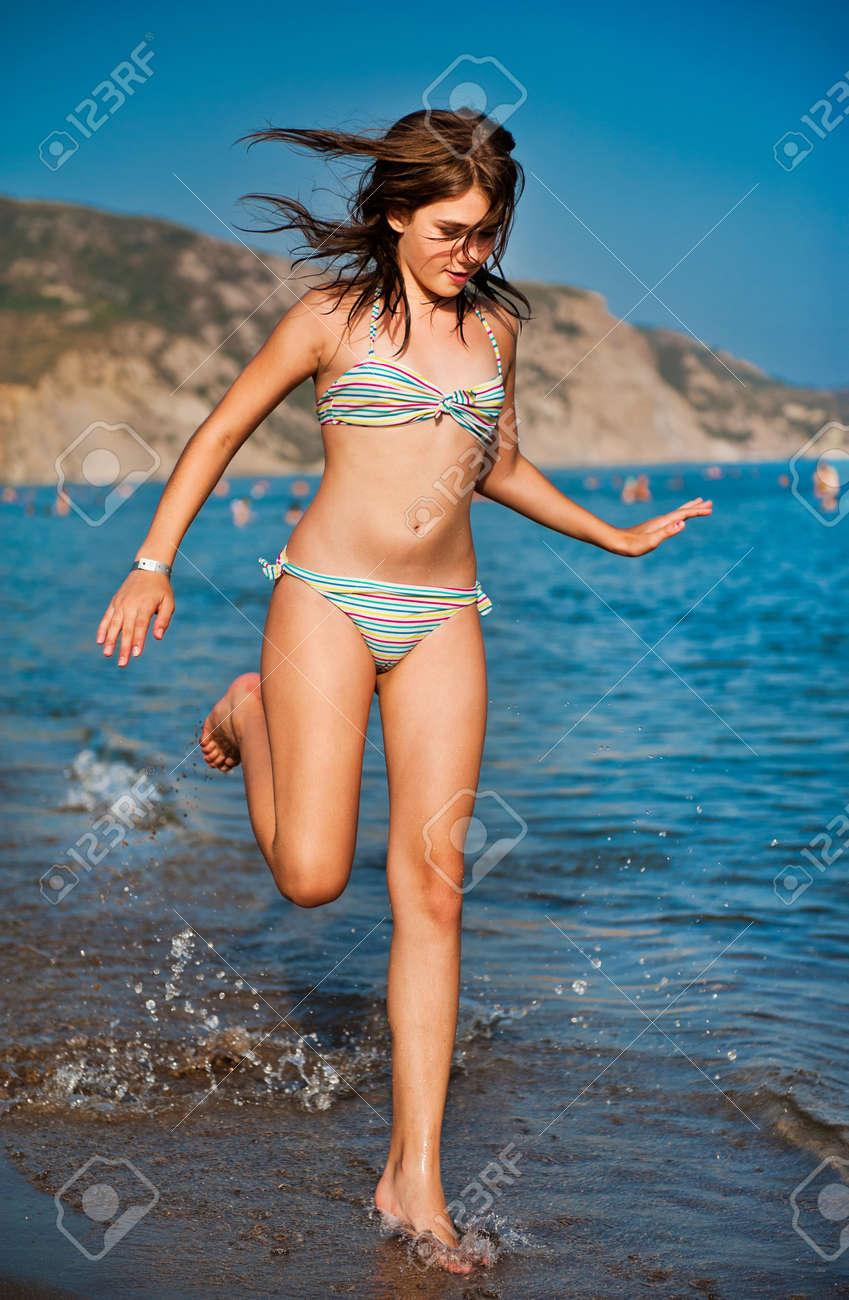 Teen girls beach bikinis