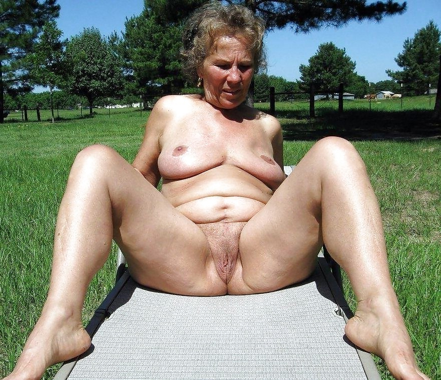 Beautiful nude grannies outdoors