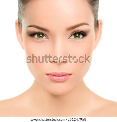 Asian woman with green eyes