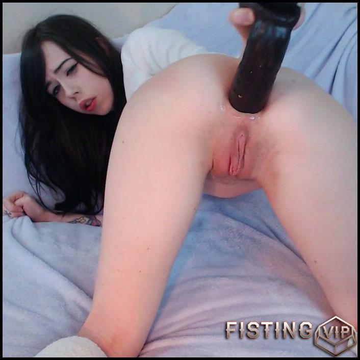 Huge black dildo anal
