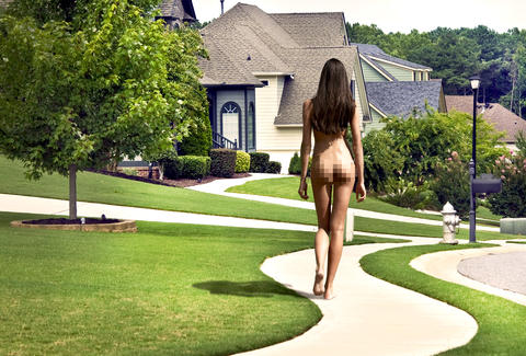 Nude around house naked