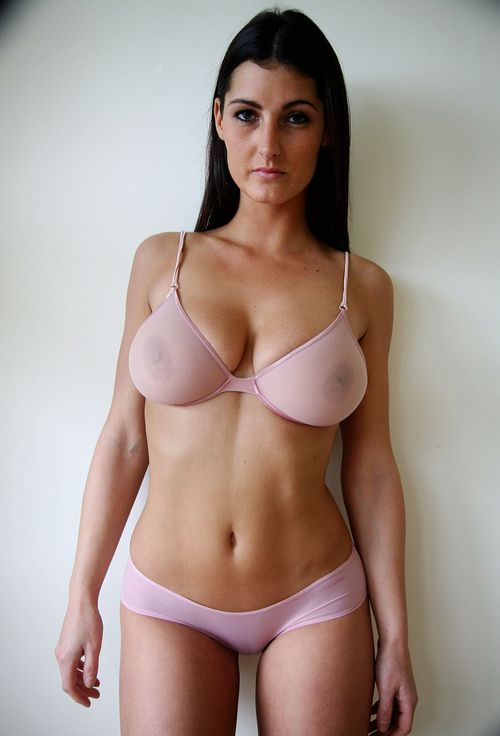 Milf sheer bra in boobs