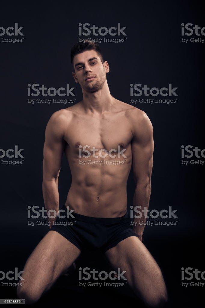 Nude man tall stock