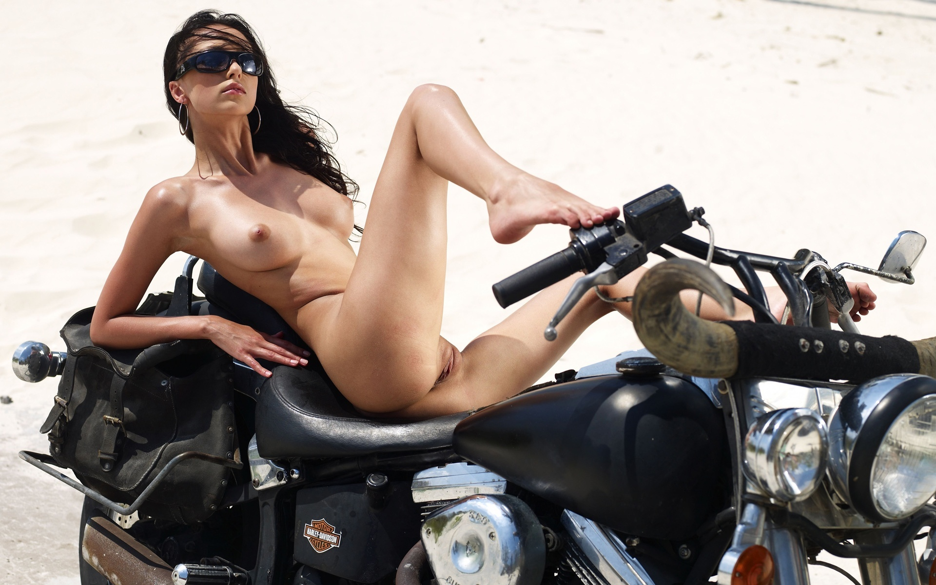 Girl showing pussy on motorcycles