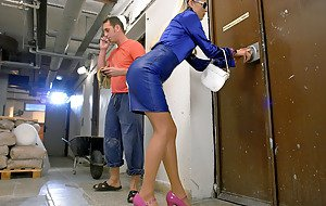 Lady peeing on man naked