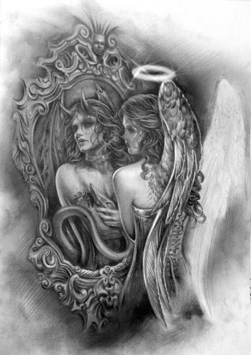 Angel devil girl tattoo design