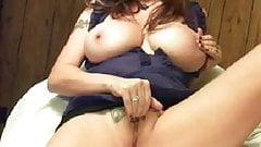 Busty babe spread legs