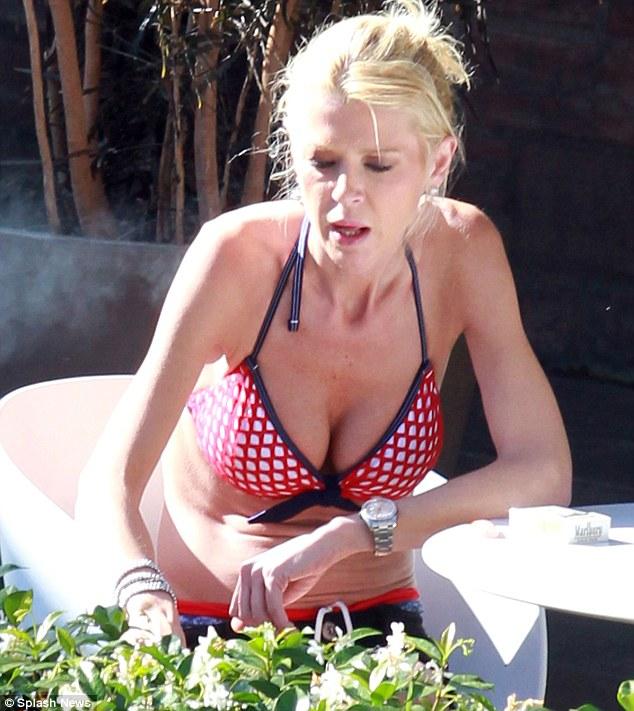 Anorexic granny in bikini