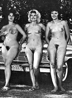 Vintage retro nude women group