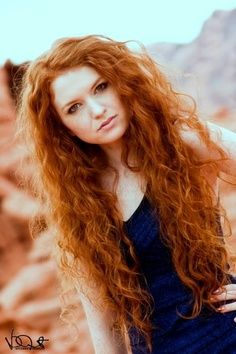 Natural curly red hair