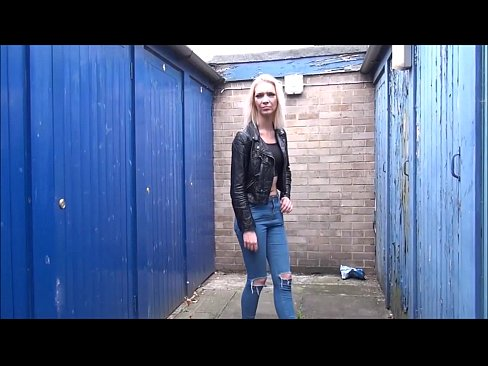 Blonde milf flashing in public
