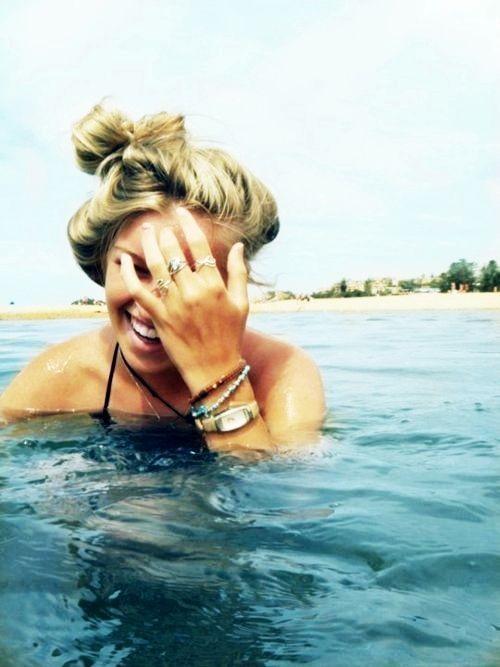 Cute blonde girl nude beach